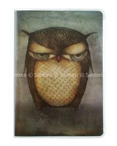 314EC03 - A5 Stitched Notebook - Grumpy Owl - Front - WM