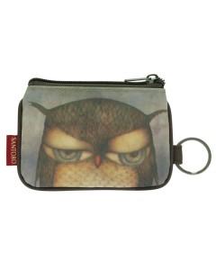 340EC03 - Coated Zip Purse - Grumpy Owl - Back - web